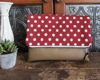 Large Fold Over Clutch Bag - Burgundy Dots with Tan Vegan Leather Bottom, Foldover Zipper Clutch, Red Dots Clutch Bag