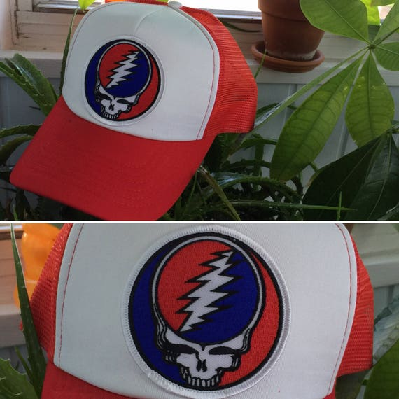Grateful Dead Trucker Hat: Grateful Dead Hat-Stealie Steal Your Face Patch-Snap Back