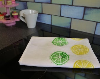 Citrus 100% Linen Block Printed Tea  Towel