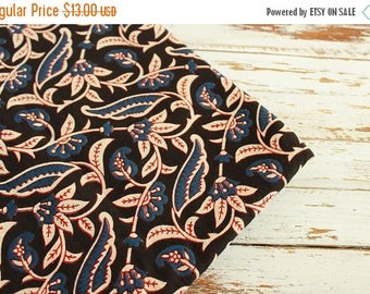 10% OFF End Of Bolt- 2.2 yards of Floral Print Fabric, Indian Cotton Fabric,  Black Floral Fabric, Skirt Fabric