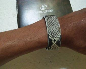 Handmade Python Leather Bracelet - Natural