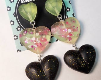 Hearts/Gift for her/Girly/Cute Earrings/Resin earrings/Resin/Resin jewelry/Handmade/Cute/Valentine's day/Love/Valentine's/Long earrings