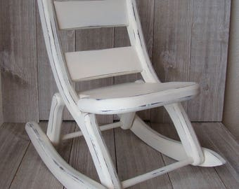 Toy Rocking Chair, White Rocking Chair, Doll Rocking Chair, Painted Rocking Chair, Distressed Rocking Chair, Upcycled/Refurbished  Chair