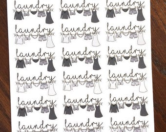 Neutral Clothesline Planner Stickers - Black Laundry Stickers - Cleaning Stickers - Laundry Line Stickers - Wash Clothes Calendar Stickers