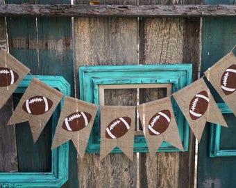 Football Burlap Banner Garland Sign