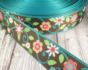 Flower ribbon - Pretty ribbon - Grosgrain ribbon - Vine ribbon - Brown and teal - Hair bow ribbon - Lanyard ribbon - Headband ribbon