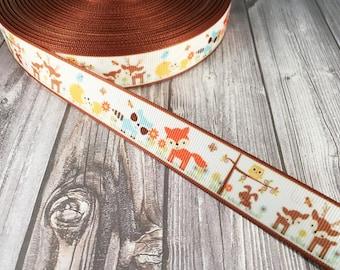 Deer ribbon - Fox ribbon - Grosgrain ribbon - Woodland animal ribbon - Raccoon ribbon - Owl ribbon - Hedgehog ribbon - Bunny ribbon