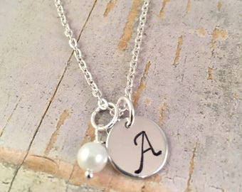 Bridesmaid necklace, Pearl Necklace, Initial Necklace, Personalized pearl necklace, initial necklace, initial charm pearl necklace, monogram