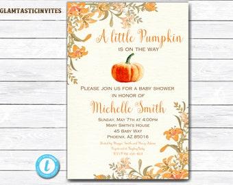 Pumpkin Baby Shower Invite, Little Pumpkin Baby Shower Invitation, Fall Baby Shower Invite, Baby Shower Template, Thanksgiving Invitation