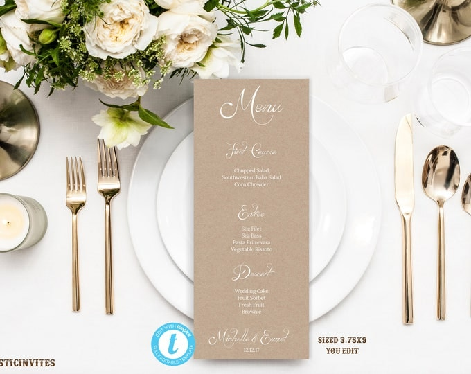 Wedding Menu Template, Wedding Menu, Rustic Menu, Menu Template, Rustic Menu Template, Wedding Menu Card, Printable Menu, Editable, DIY Menu