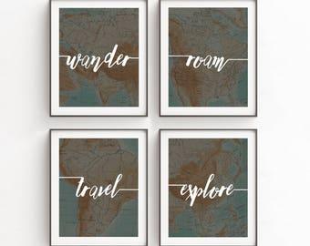 Gift for Men, Gift for Sister, Wanderlust Print Art, Home Decor, Instant Downloads, Graduation Gift, Bestfriend Gift, Wanderlust, Dorm Room