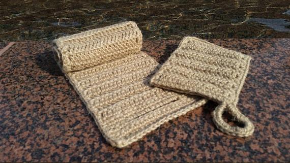 Eco-friendly bath/shower SPONGE SPA SET, bath mitt and crochet long sponge, 100 % natural jute
