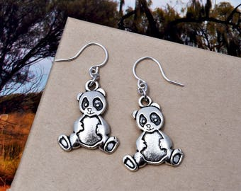 Panda Bear Earrings, Bear Charm Earrings, Silver Dangle Earrings - Animal Earrings - Bear Gift Wild Animal Zoo