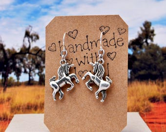 Silver Unicorn Earrings, Prancing Unicorn, Dangle Earrings - Fantasy Earrings, Stainless Steel or Hypoallergenic Wires