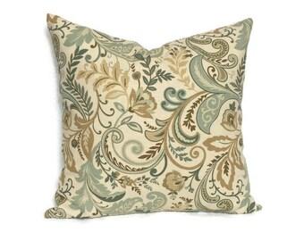 Blue Tan Pillow Etsy