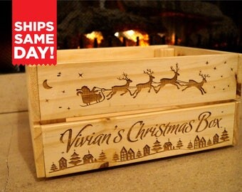 Personalized Christmas Crate Wood ENGRAVED Small Medium Gift Box Custom Name Santa Claus Sleigh Scene Merry Christmas Eve Santa Monogrammed