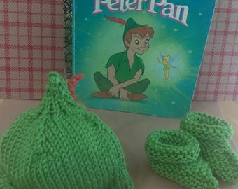 Peter Pan Hat and Bootie Set