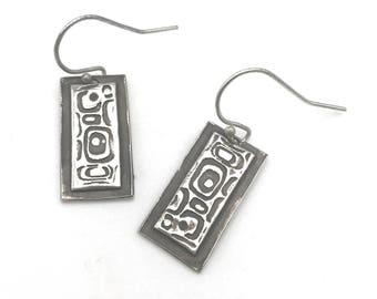 Handmade Sterling Retro Silver Earrings | Simple Bar Earrings with Retro Design | Retro Earrings | Oxidized Silver Bar Dangle Earrings