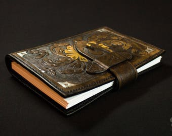 Notebook A6 eye and Medieval Floral tooled leather cover