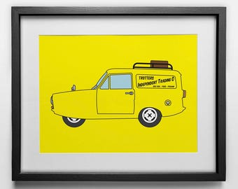 Only Fools and Horses Poster: Trotters Independent Trading Co Yellow Van Graphic Art Print, Del Boy and Rodney Reliant Regal Robin