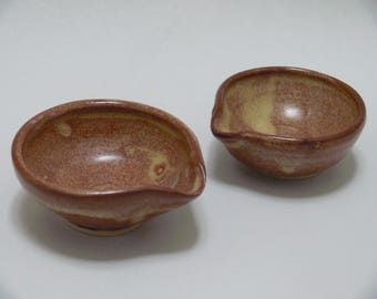 Brown Stacking mini food prep bowls, ceramc bowls, teabag dish, ring dish, kitchen prep bowls, SierraAvisPottery
