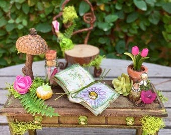 Fairy garden desk and chair, dollhouse furniture, fae desk and accessories