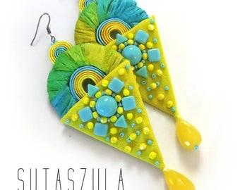 Beach jewelry Dangle earrings Long earrings Greenery jewelry lime earrings yellow Sun jewelry Seed bead earrings Colorful earrings