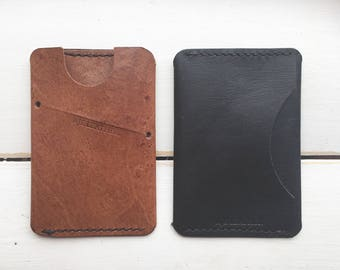 Personalised Leather Card wallet, Kangaroo leather wallet, minimalist Card holder, Free Personalised initials