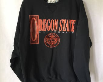 Vintage Oregon State University Sweatshirt - Black Jumper - Portland Oregon - Beavers Size LARGE PNW