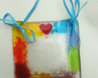 Mini hand made fused glass hanging picture frames. 4x4 inches