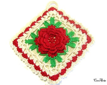 Crochet potholder with flower, Colorful potholder, Presina con fiore