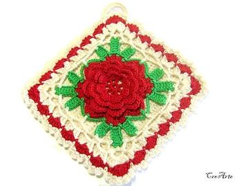 Crochet potholder with Red flower, presina con fiore rosso ad uncinetto