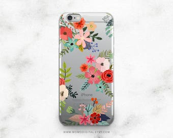 Floral Collage, iPhone Case, iPhone 5 5S 5SE 6 6S 7 7S Plus, Colorful Phone Case, Floral Flower Pattern, Transparent Background, Shabby Chic