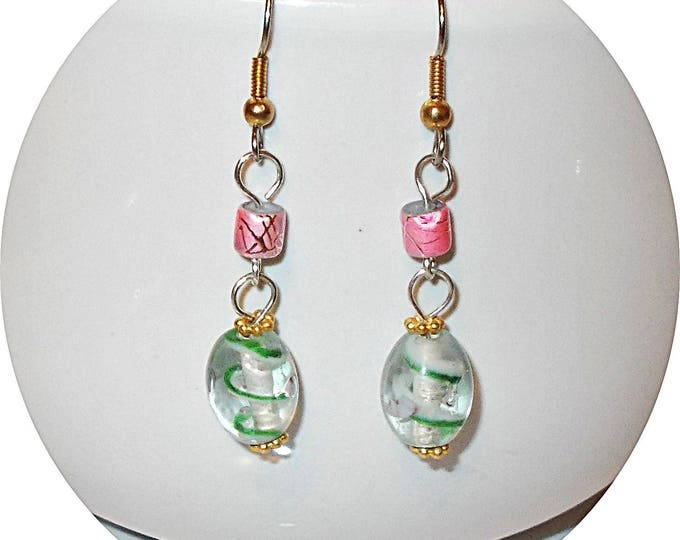 One Of A Kind Boho Chic Handmade Green Swirl Pink Glass Bead Drop Dangle Stainless Steel Earrings