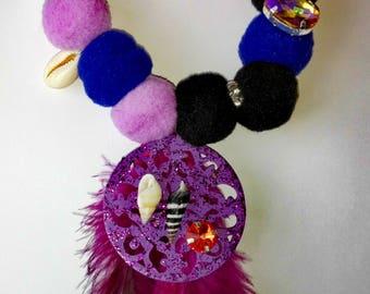 Elastic Purple & PomPom Fashion Necklace!