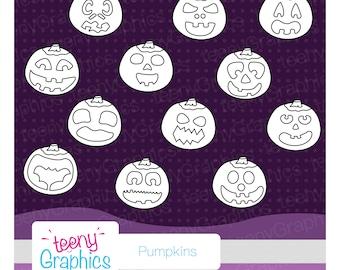 Halloween Stamps, Fun Pumpkin Set, Small Commercial Use,Digital stamp set,Vector,Downloads,Scrap booking,Pumpkin - stamp05