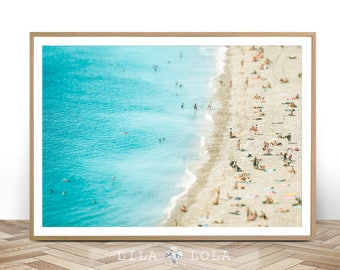 Modern Wall Art, Beach Coastal Decor, Photography, Large Ocean Print, Printable Poster, Digital Download, People On The Beach, Wall Art