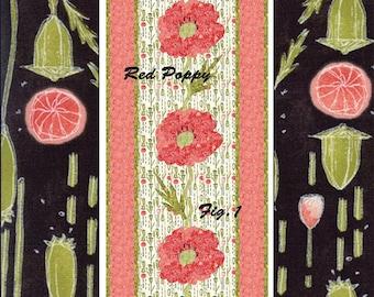 RED POPPY Table Runner Quilt Pattern By Barbara Cherniwchan for Coach House Designs CHD 1625