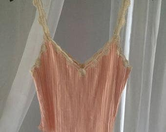 Vintage pearl pink La Perla silk night top with amazing flower embroidered straps