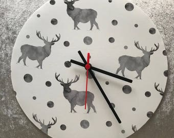 Fabric wall clock - Stag print clock - wall clock