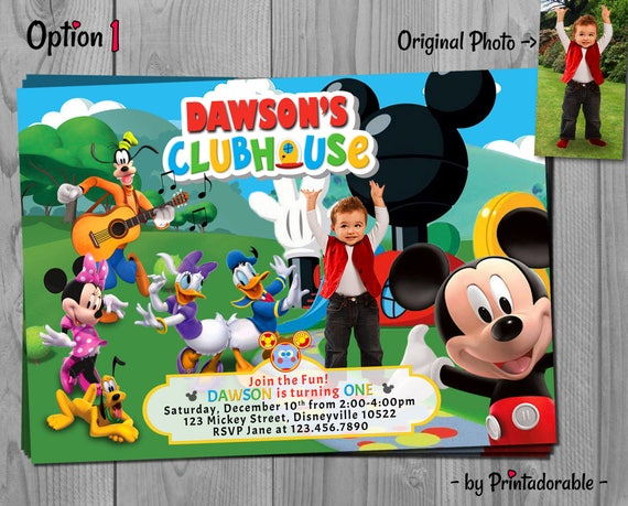 Mickey Mouse Clubhouse Invitation - Mickey Invite - Mickey Birthday Party with Minnie, Goofy, Daisy, Donald and Pluto - Customizable Photo