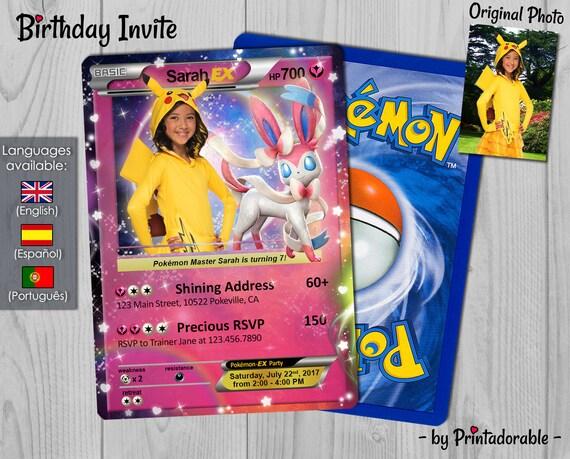 Pokémon Card Fairy Invitation - Fairy Type Pokémon Card - Pokemon GO Birthday Invitation and Poké Card - Digital File