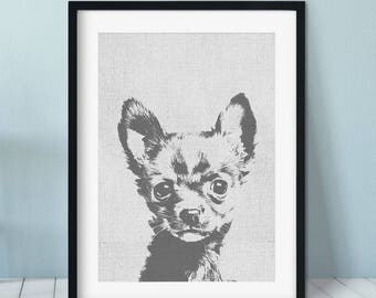 Chihuahua art print, Dog Print Gift Idea, Modern Dog Art Print, Black White Wall Decor, Chihuahua print, Pet portrait, dog art
