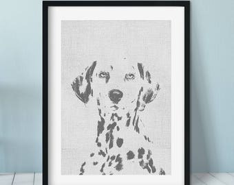 Dalmatian art print, Dog Print Gift Idea, Modern Dog Art Print, Black White Wall Decor, Dalmatian print, Pet portrait, dog art