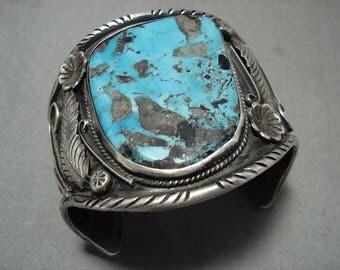 Opilent Vintage Navajo Persin Turquoise Silver Leaf Bracelet