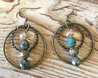 Bronze Circle Earrings, Bronze Drop Earrings, Bronze Drop Earrings