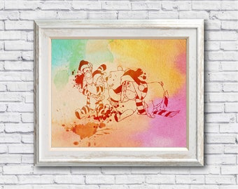 "Winnie the pooh Christmas  watercolor Murals ,8""x10""  JPEG & PDF file , Inspirational Quote,Digital Prints,Wall Art Prints"
