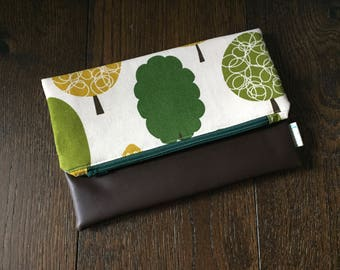 Tree Fold Over Clutch with Vegan Leather Bottom