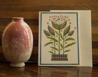 Sparkle Flower, greeting card, botanical, colorful, unique handmade, pedestal series