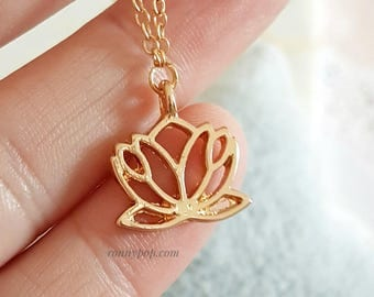 Lotus Flower Necklace - Lotus Flower Jewelry - Flowers - Flower Necklace - Meditation - Yoga - Flower Jewelry - Silver - Gold - Sister Gift